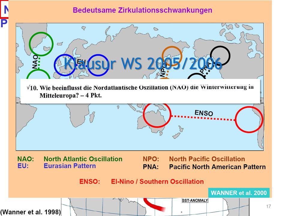Frage 6 Klausur WS 2005/2006. Welche weiteren bedeutenden Zirkulationsschwankungen gibt es noch
