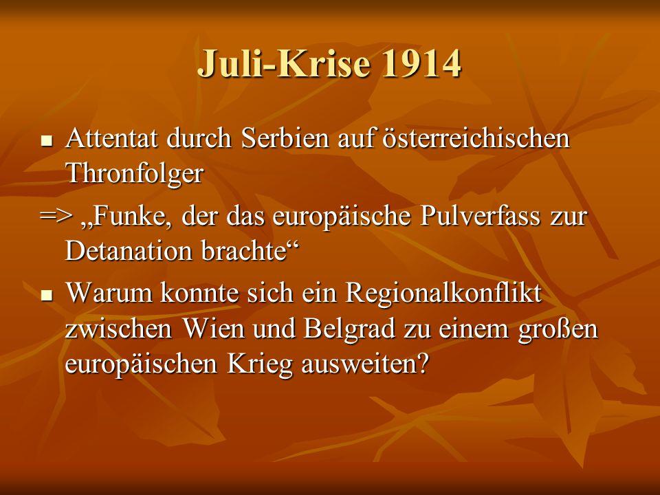 """Juli-Krise 1914 Attentat durch Serbien auf österreichischen Thronfolger. => """"Funke, der das europäische Pulverfass zur Detanation brachte"""