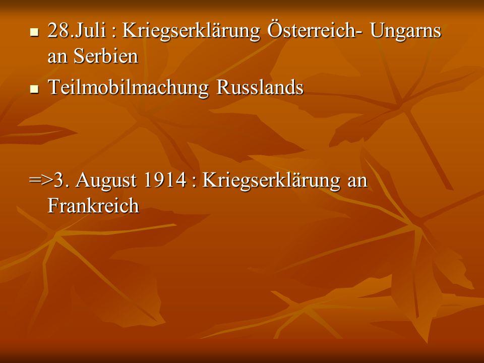 28.Juli : Kriegserklärung Österreich- Ungarns an Serbien