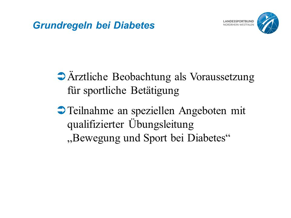 Grundregeln bei Diabetes