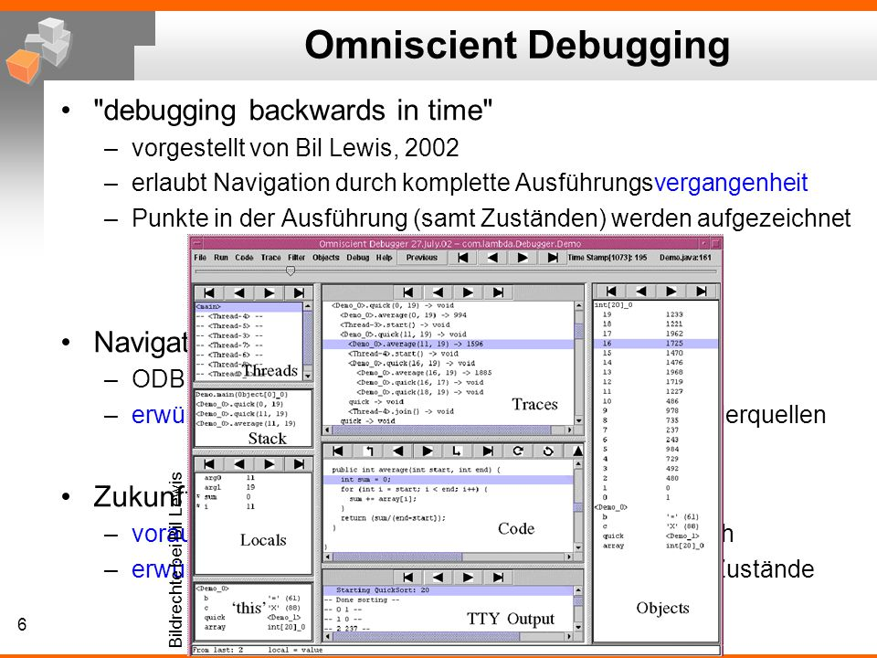 Omniscient Debugging debugging backwards in time Navigation