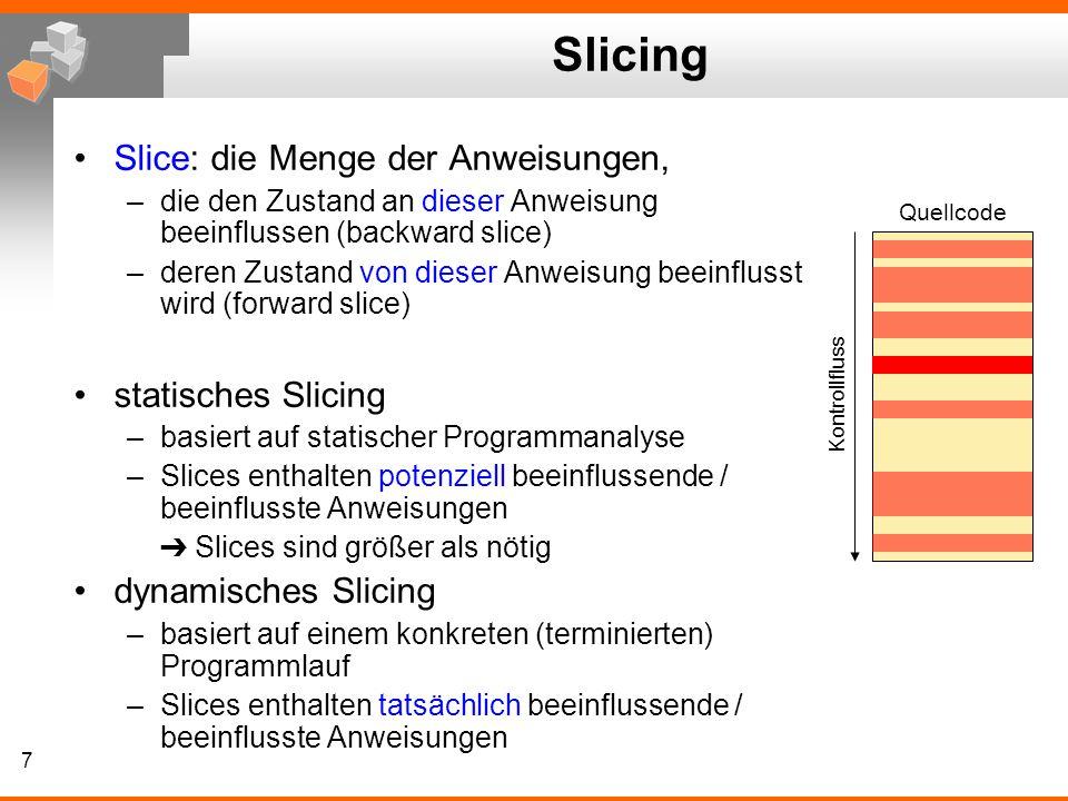 Slicing Slice: die Menge der Anweisungen, statisches Slicing