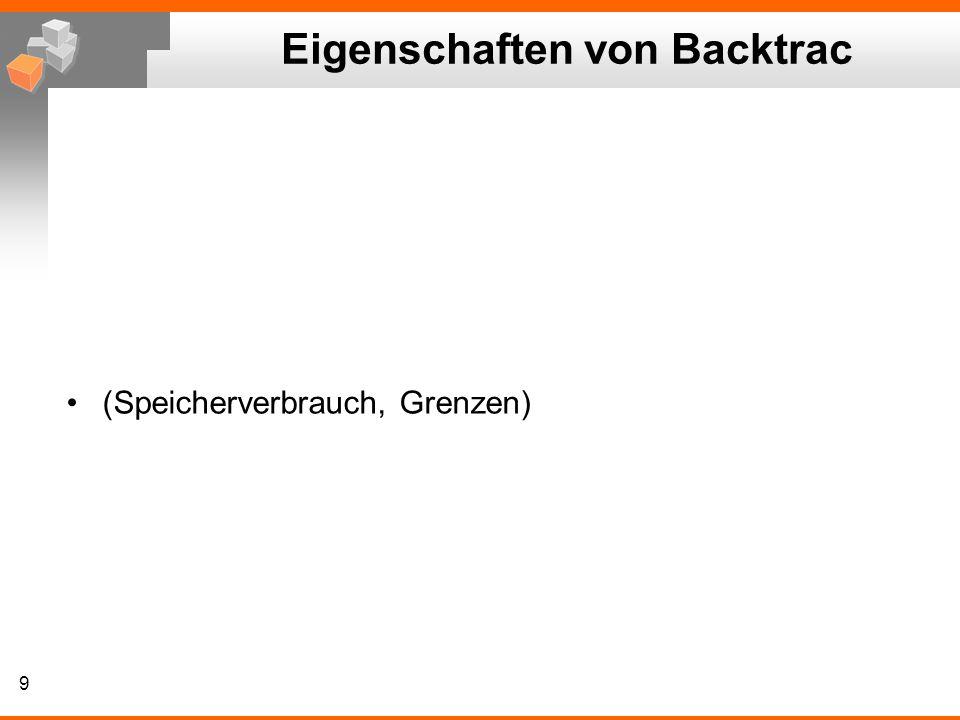 Eigenschaften von Backtrac