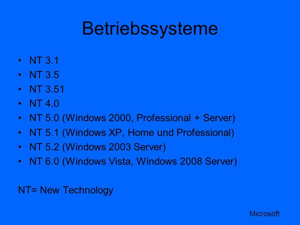 Betriebssysteme NT 3.1 NT 3.5 NT 3.51 NT 4.0