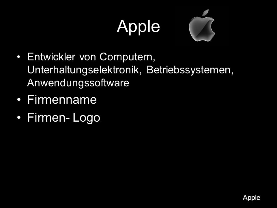 Apple Firmenname Firmen- Logo