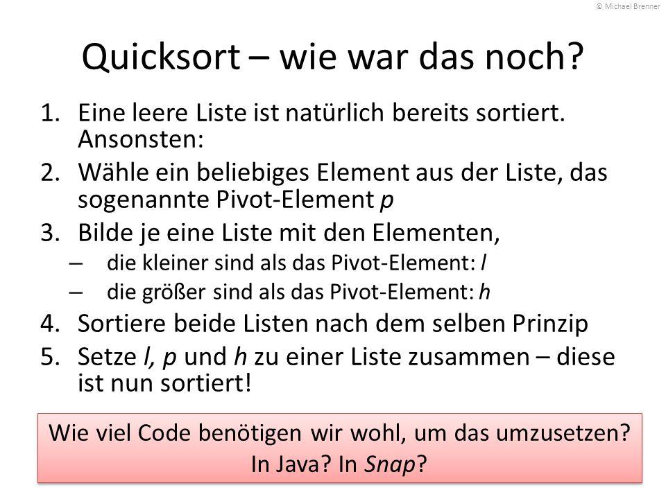 Quicksort – wie war das noch