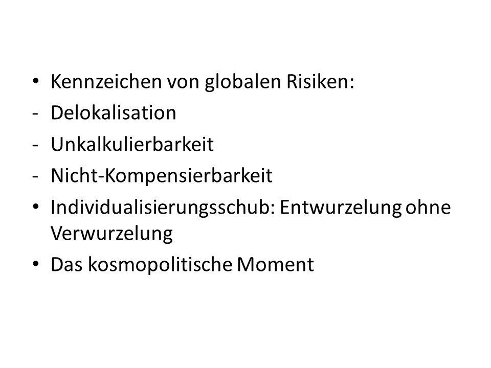 Kennzeichen von globalen Risiken: