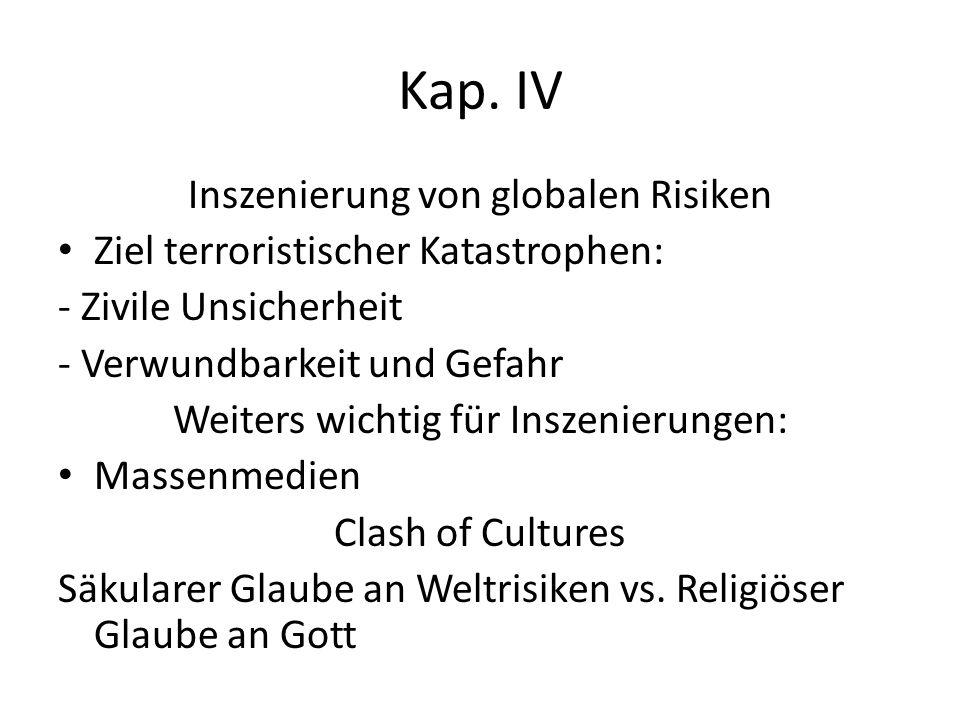 Kap. IV Inszenierung von globalen Risiken