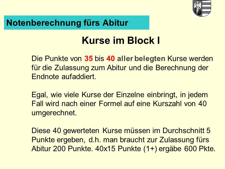 Kurse im Block I Notenberechnung fürs Abitur