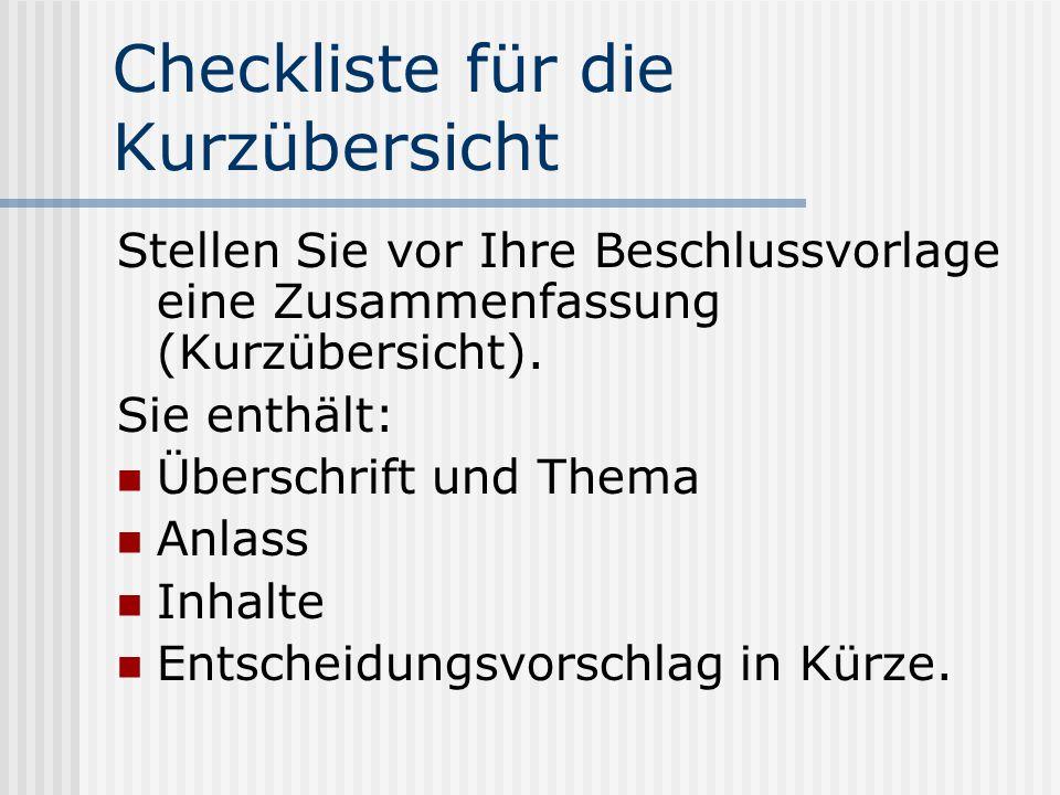 Checkliste für die Kurzübersicht