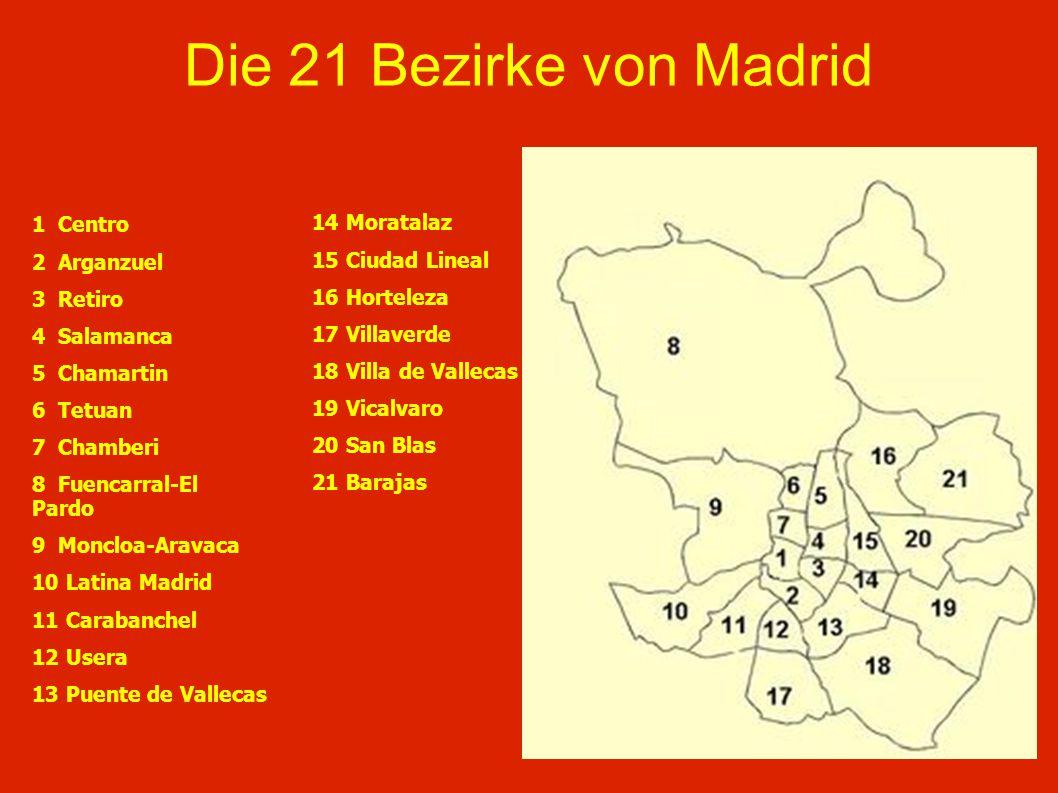 Die 21 Bezirke von Madrid 1 Centro 14 Moratalaz 2 Arganzuel