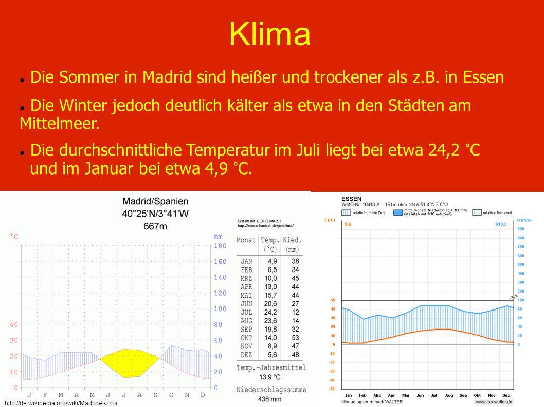 Klima Die Sommer in Madrid sind heißer und trockener als z.B. in Essen