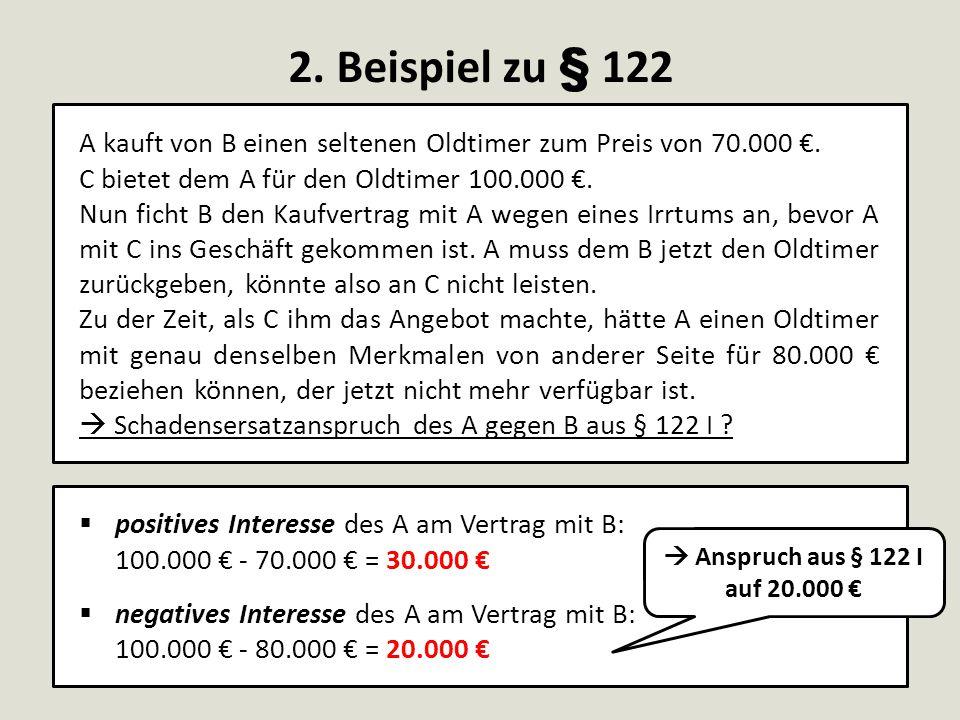 2. Beispiel zu § 122 A kauft von B einen seltenen Oldtimer zum Preis von 70.000 €. C bietet dem A für den Oldtimer 100.000 €.