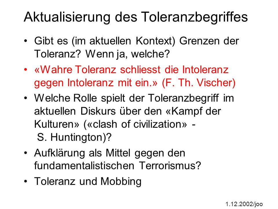 Aktualisierung des Toleranzbegriffes