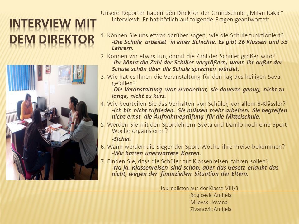 Interview mit dem Direktor