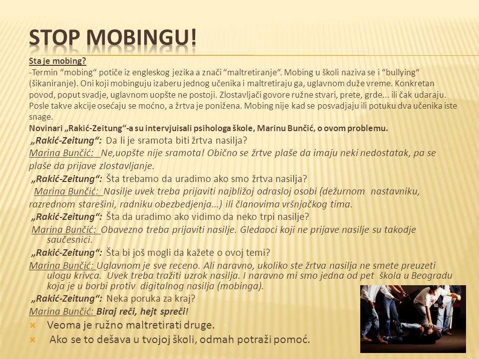 STOP MOBINGU! Veoma je ružno maltretirati druge.
