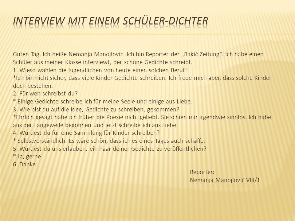 INTERVIEW MIT EINEM SCHÜLER-DICHTER