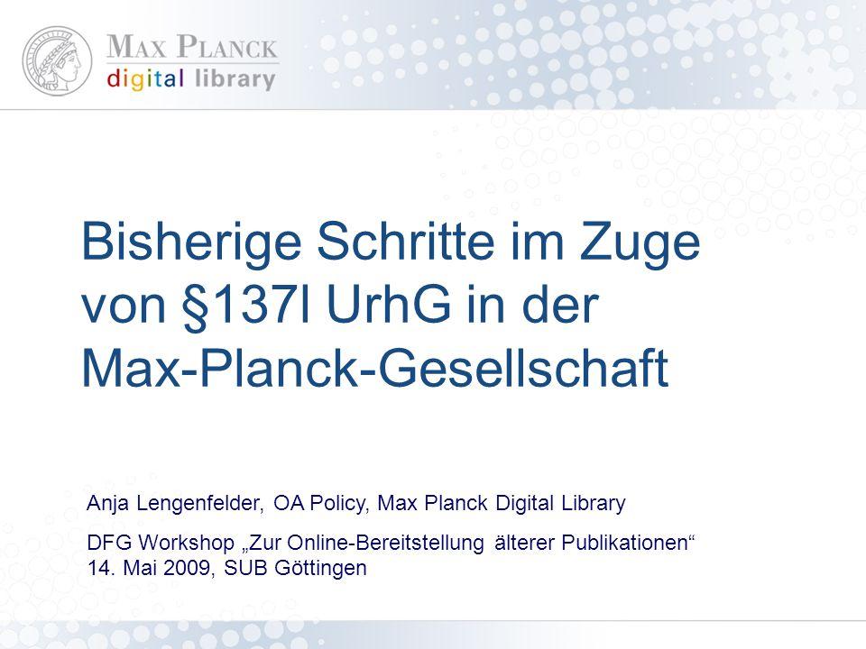 Überblick Kurzinfo zur Max-Planck-Gesellschaft und Max Planck Digital Library.
