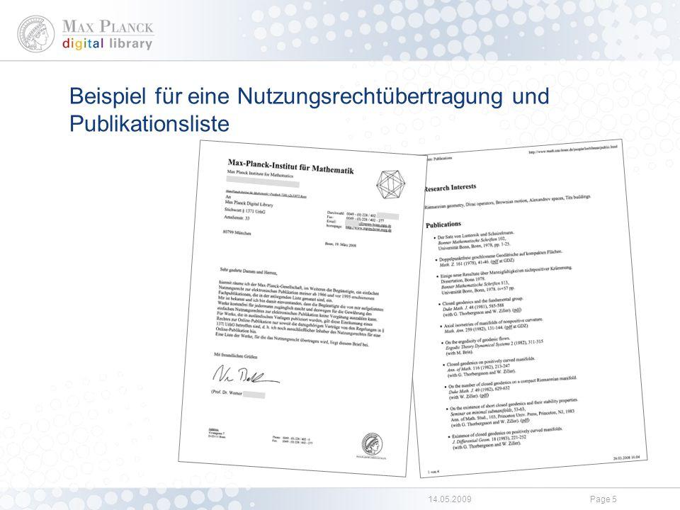 Rücklauf zu §137l Einige Hundert Nutzungsrechtübertragungen zu Online-Publikation an die Einrichtungen der MPG.