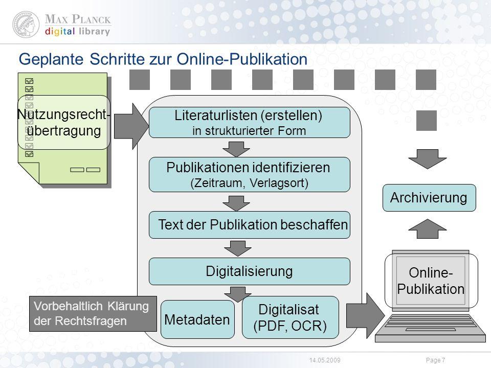 Bearbeitung der §137l-Publikationen