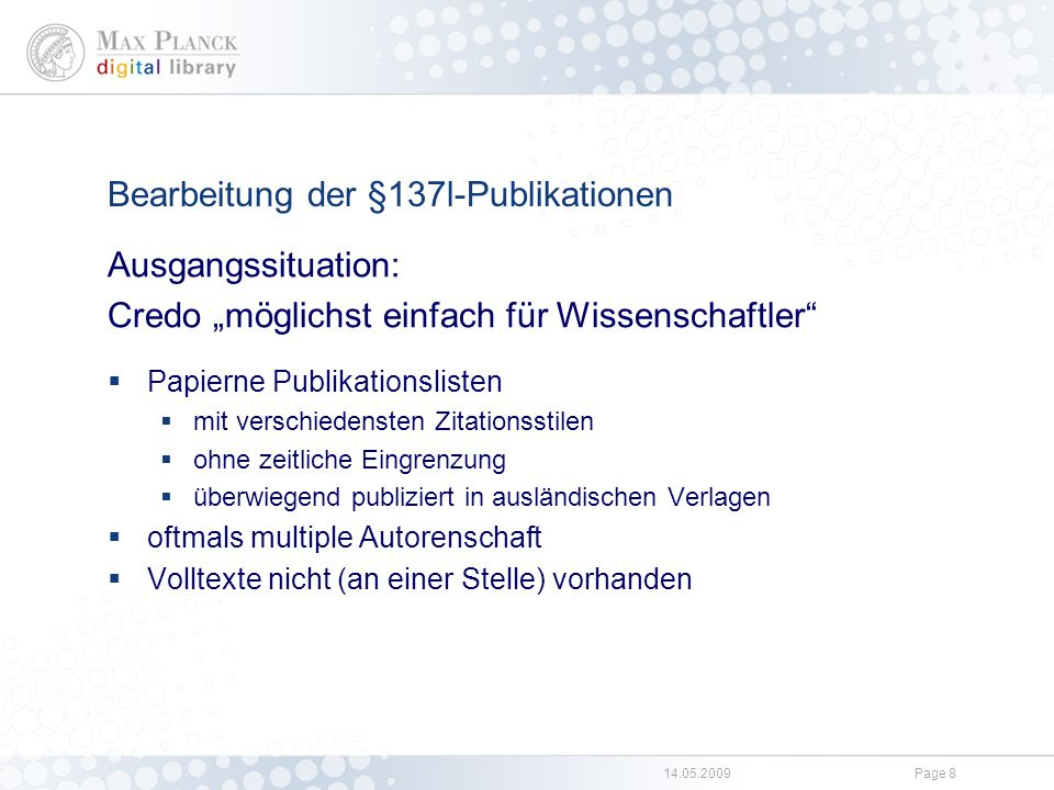Beteiligte innerhalb der Max-Planck-Gesellschaft