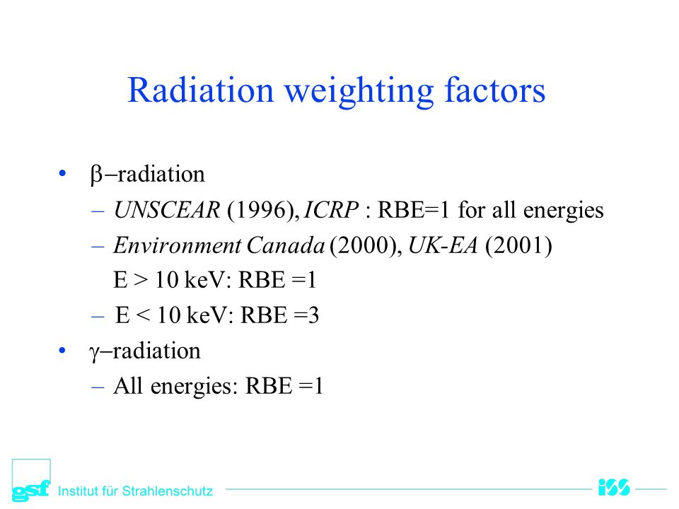 Radiation weighting factors
