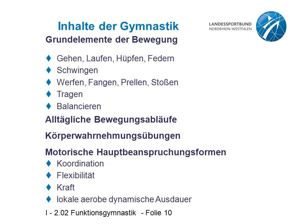 Inhalte der Gymnastik Grundelemente der Bewegung