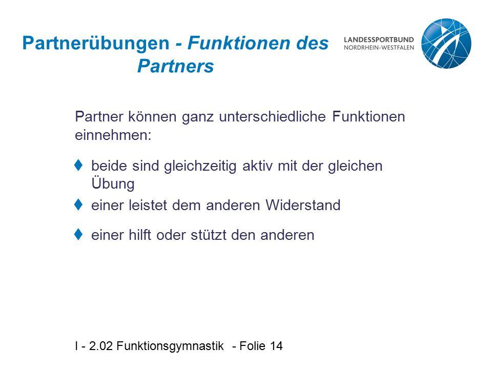 Partnerübungen - Funktionen des Partners