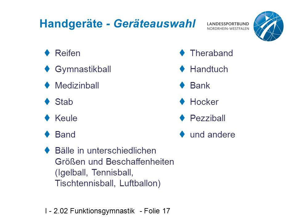 Handgeräte - Geräteauswahl