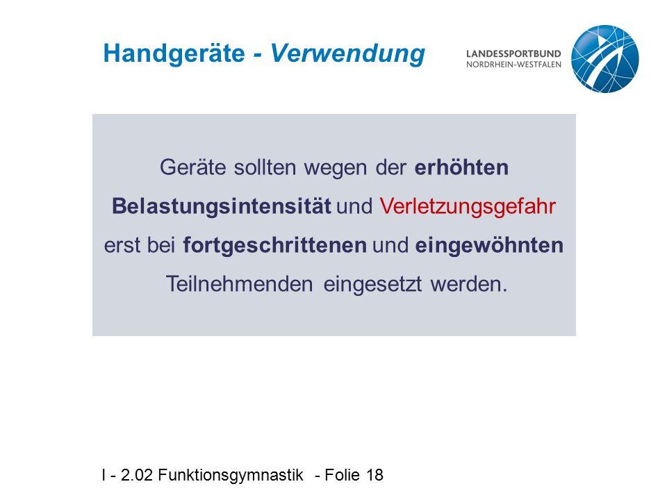 Handgeräte - Verwendung