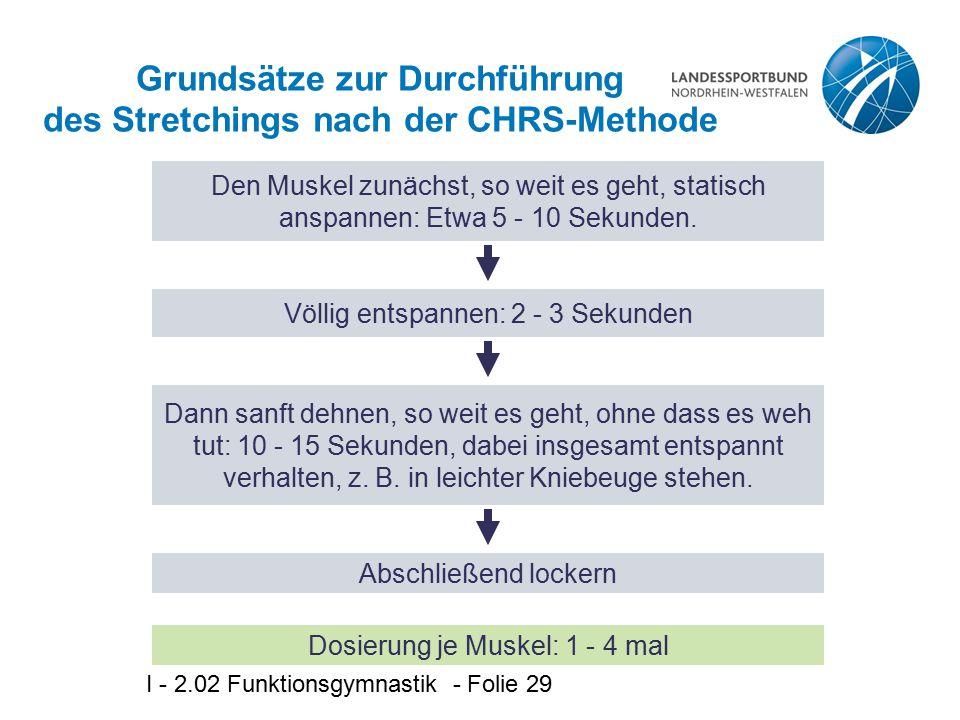 Grundsätze zur Durchführung des Stretchings nach der CHRS-Methode