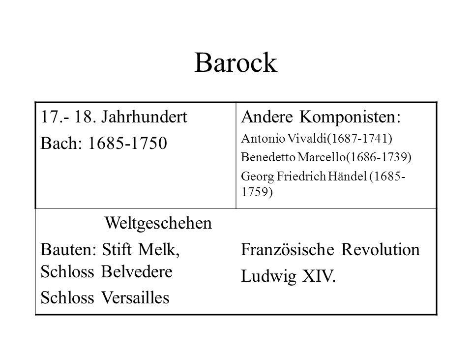 Barock 17.- 18. Jahrhundert Bach: 1685-1750 Andere Komponisten: