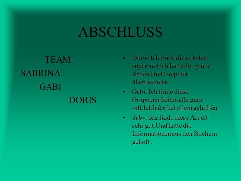 ABSCHLUSS TEAM: SABRINA GABI DORIS