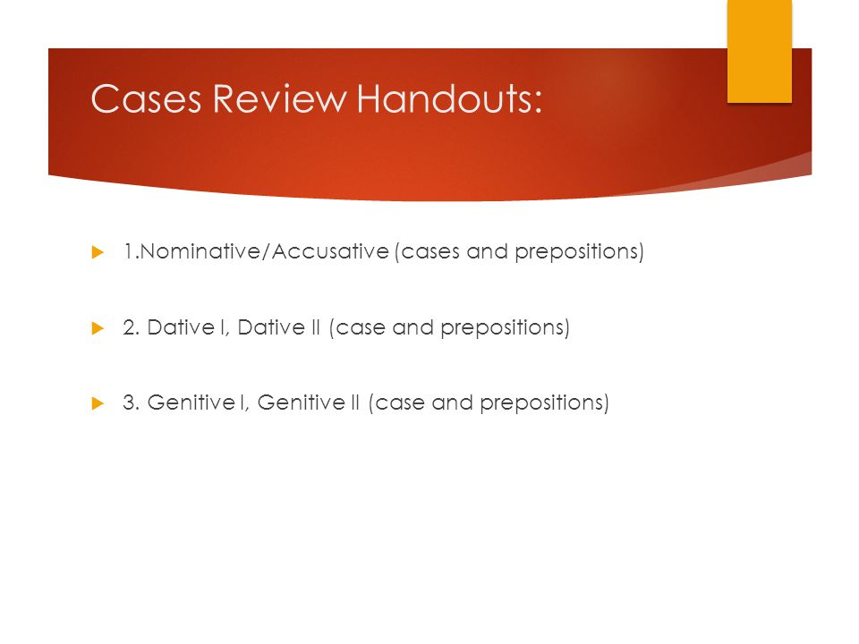 Cases Review Handouts: