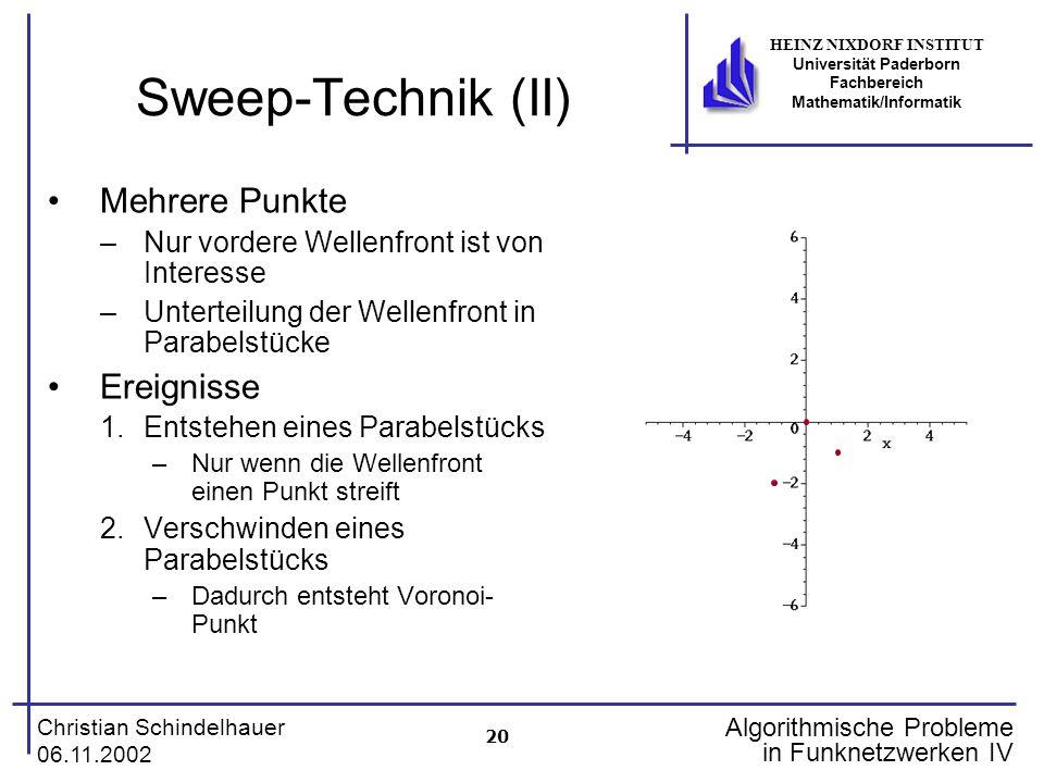 Sweep-Technik (II) Mehrere Punkte Ereignisse
