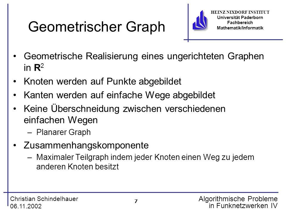 Geometrischer Graph Geometrische Realisierung eines ungerichteten Graphen in R2. Knoten werden auf Punkte abgebildet.
