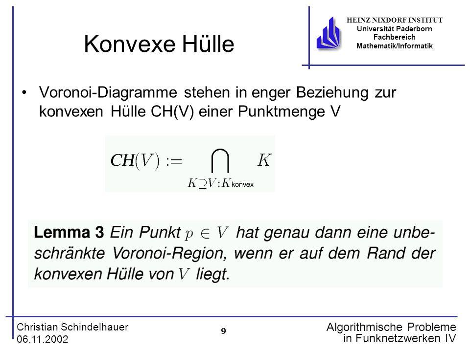 Konvexe Hülle Voronoi-Diagramme stehen in enger Beziehung zur konvexen Hülle CH(V) einer Punktmenge V.