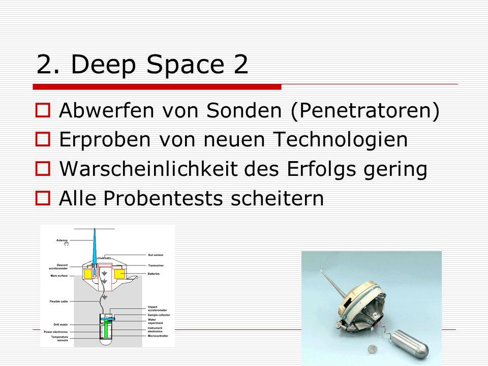 2. Deep Space 2 Abwerfen von Sonden (Penetratoren)