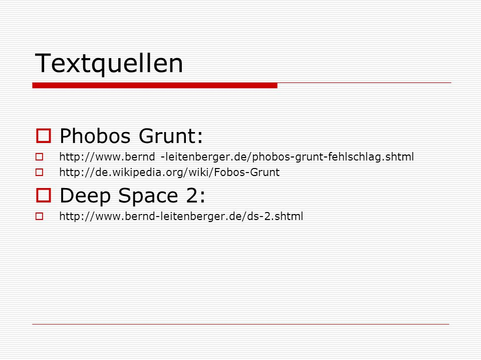 Textquellen Phobos Grunt: Deep Space 2: