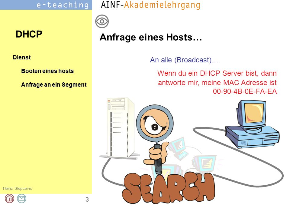 DHCP Anfrage eines Hosts… An alle (Broadcast)…