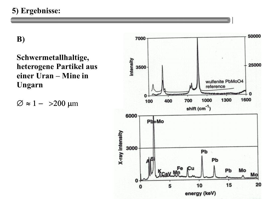 5) Ergebnisse: B) Schwermetallhaltige, heterogene Partikel aus einer Uran – Mine in Ungarn.