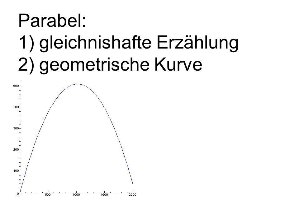 Parabel: 1) gleichnishafte Erzählung 2) geometrische Kurve