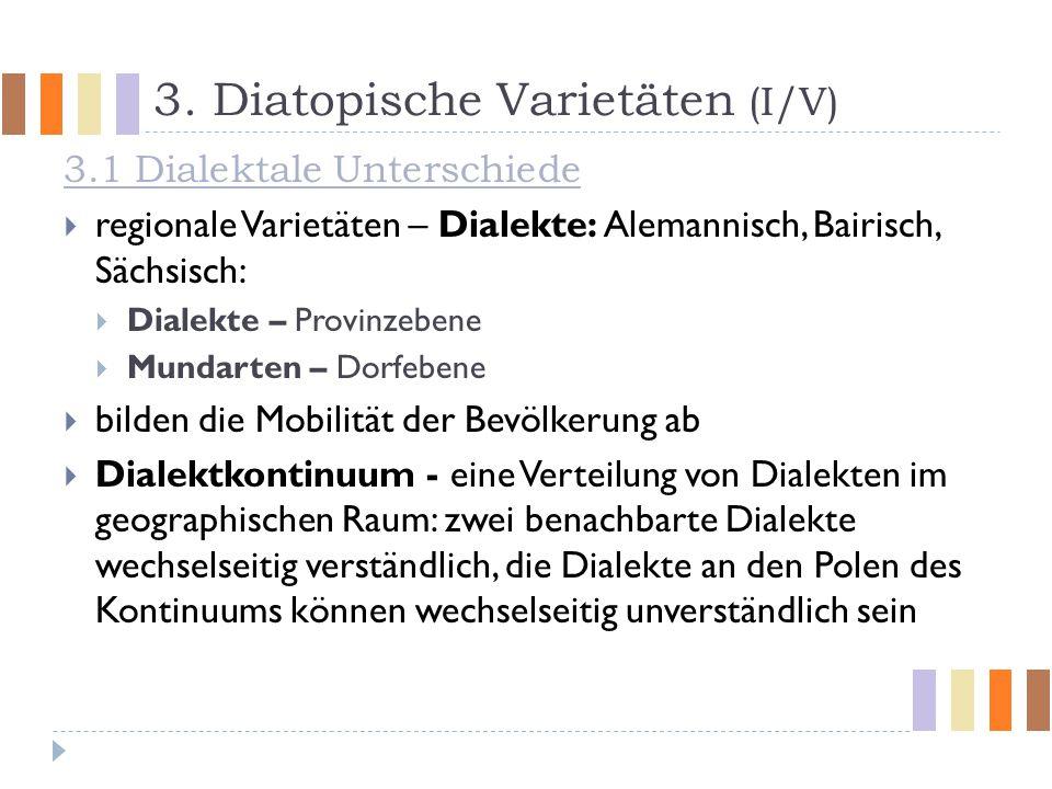 3. Diatopische Varietäten (I/V)