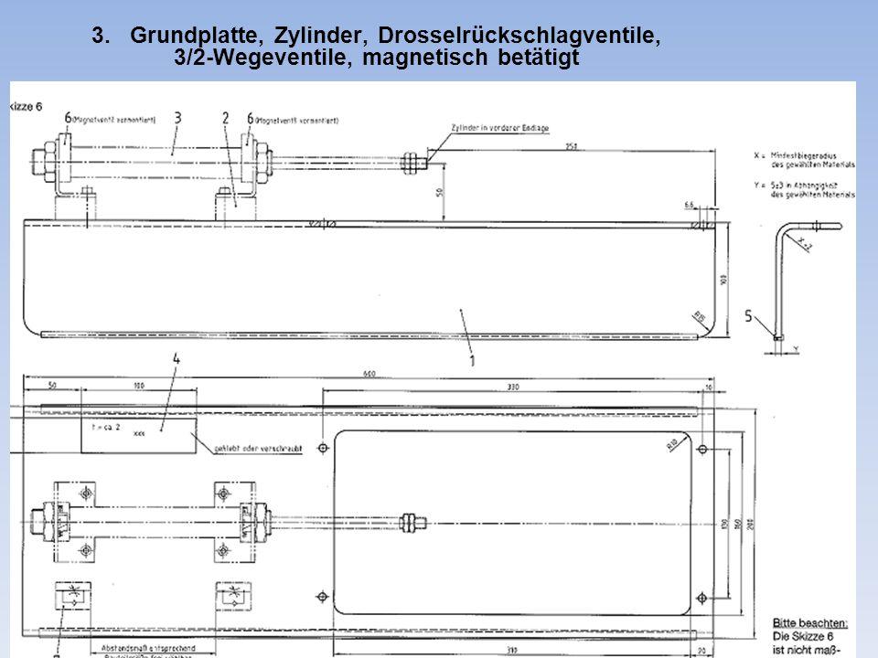 3. Grundplatte, Zylinder, Drosselrückschlagventile, 3/2-Wegeventile, magnetisch betätigt