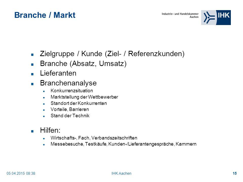 Branche / Markt Zielgruppe / Kunde (Ziel- / Referenzkunden)