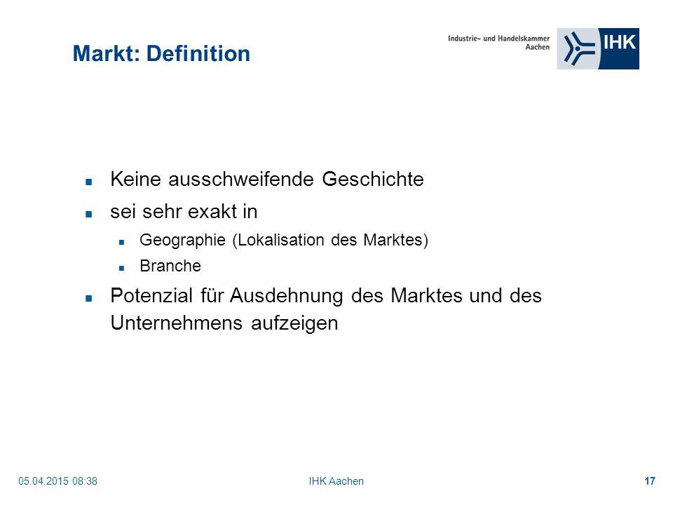 Markt: Definition Keine ausschweifende Geschichte sei sehr exakt in