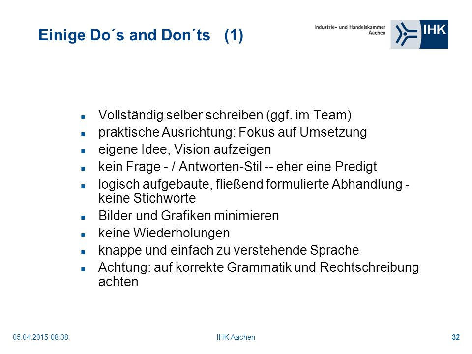 Einige Do´s and Don´ts (1)