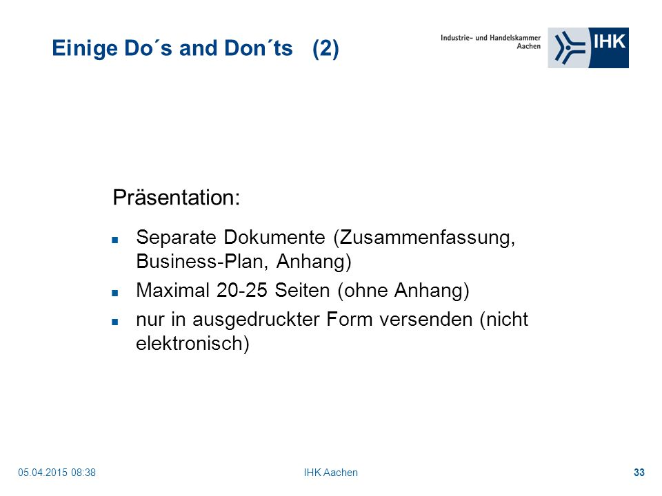 Einige Do´s and Don´ts (2)