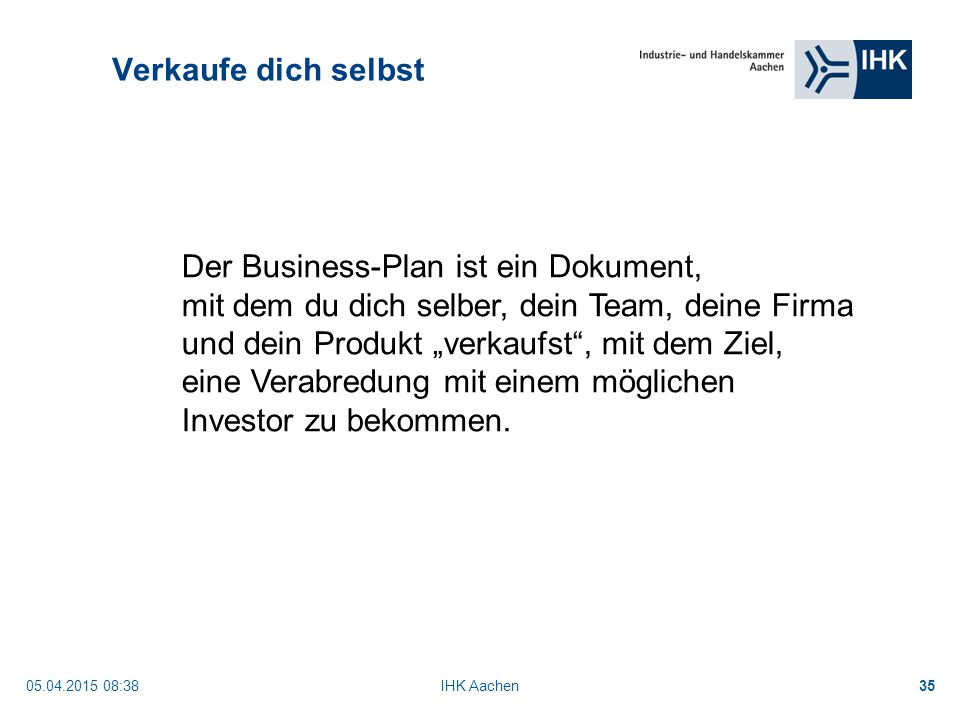 Der Business-Plan ist ein Dokument,