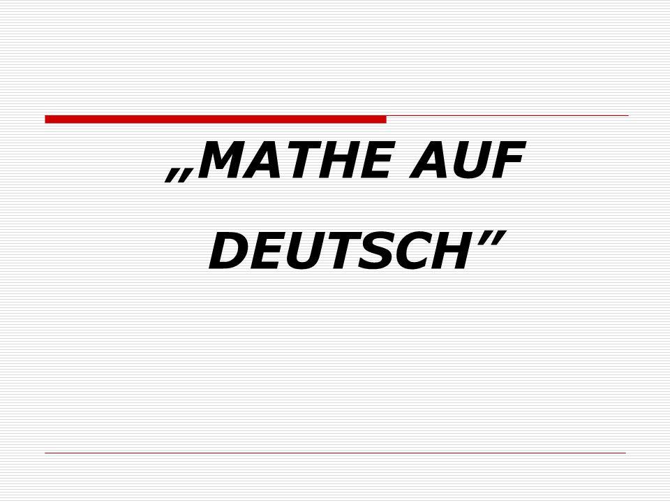"""""""MATHE AUF DEUTSCH"""